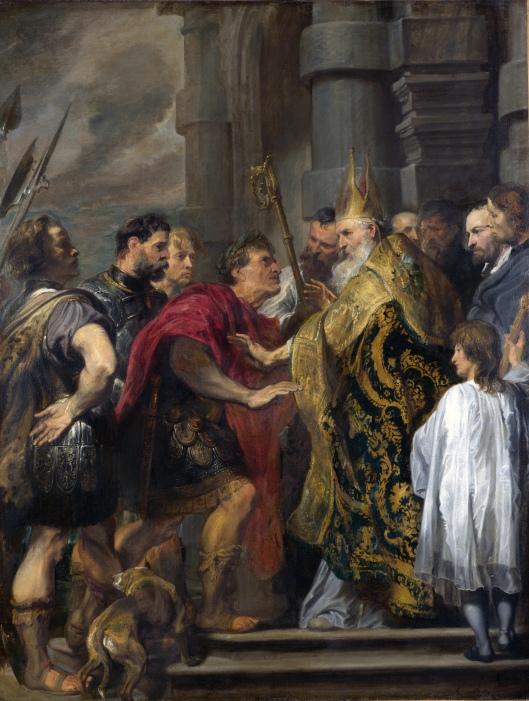 San Ambrosio niega la entrada en la iglesia al Emperador Teodosio. (Anthonis van Dyck)