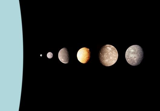 De izquierda a derecha: Urano, Puck, Miranda, Ariel, Umbriel, Titania y Oberón. Los diámetros son a escala